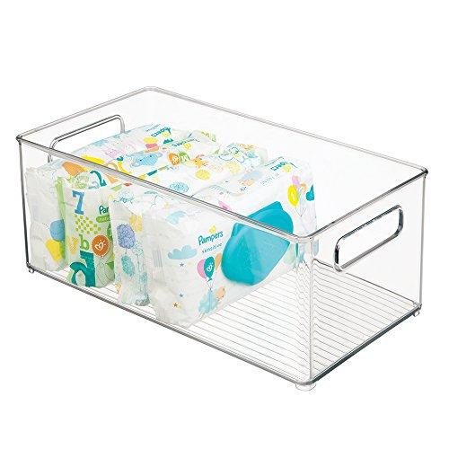 mDesign Kinderzimmer Organizer - Sortierbox mit praktischen Griffen, ohne Deckel - Kunststoffbehälter mit großem Fach für Spielzeug, Windeln, Stofftiere & Co. - durchsichtig