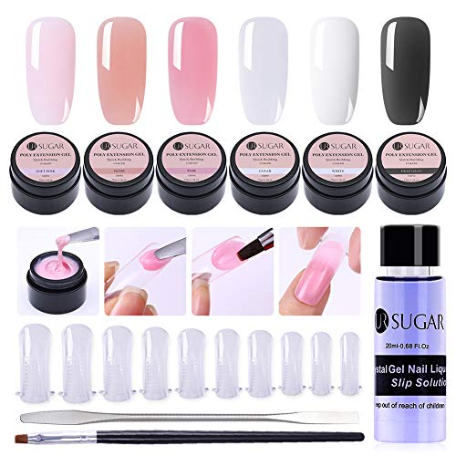 UR SUGAR 15ml Poly Quick Gel Nail Building Kit-Nagel Slip Solution Liquid, 100Pcs Nagelspitzen Form, Pen Brush+Picker, 6 Boxen Acrylgel Finger Werkzeug Set - Gel-acryl-kit
