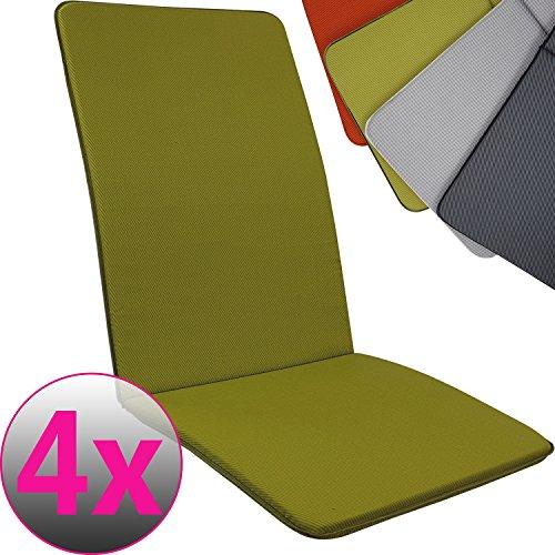 Proheim SET x4 Cojines Pisa para sillas de jardín exterior con respaldo alto 113 x 47 cm - Cojín relleno de espuma disponible en varios colores, Color:Verde manzana