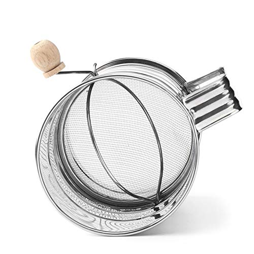 Fishyu 3-Cup Stainless Steel Rotary Hand Crank Flour Sifter Hand-held Agitator Rotary Hand Crank - Hand Sifter