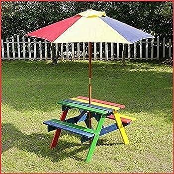 Picnic Wooden Bench Table Parasol Set For Outdoor Garden Table Gazebo New