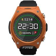 LUOOV Mifree Q8 SmartWatch impermeable profesional Ourdoor redondas Diseño arte al aire libre de la muñeca relojes deportivos para IOS y Android (escalada / senderismo / correr / caminar / Camping)[naranja]