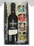Cesta Gourmet Deliex con Vino Rioja Antaño de 37,5 cl, 2 patés de Lomo Ibérico 30 g y Paté al Pedro Ximénez 30 g, 2 Cremas de Queso de Cabra Deliex y Queso Azul Deliex.