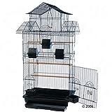 Amilo Geräumiger Vogelkäfig für Nymphensittiche und große Sittiche, mit Sitzstangen aus Holz, Schaukel und Fressnapf