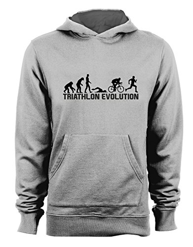 Felpa con cappuccio Triathlon Evolution - evolution - triathlon - sport - humor - in cotone Grigio