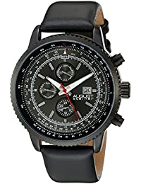 August Steiner Men's AS8189BK Black Multifunction Quartz Watch With Black Dial And Black Leather Strap