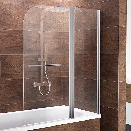 Schulte Duschwand Duo, 115x140 cm, 2-teilig mit Festelement und Handtuchhalter, Sicherheitsglas klar 5 mm, Profilfarbe chrom-optik, Duschabtrennung für Badewanne