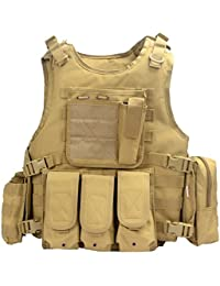 YAKEDA® Hinchas del ejército chaleco táctico Swat Cs campo táctico del ejército del chaleco del chaleco al aire libre Cs del juego del chaleco de Cosplay del juego Counter Strike Vest-322 (Caqui)