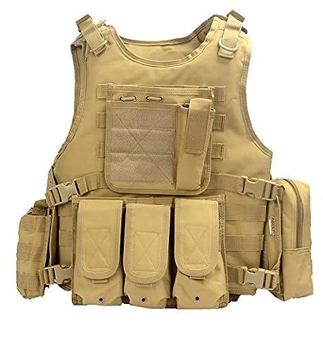 yakeda® Army Fans de Tactical Vest CS Champ SWAT Tactical Vest Army Gilet de fans en plein air CS Jeu Gilet Cosplay des Counter Strike Jeu Vest de 322, kaki