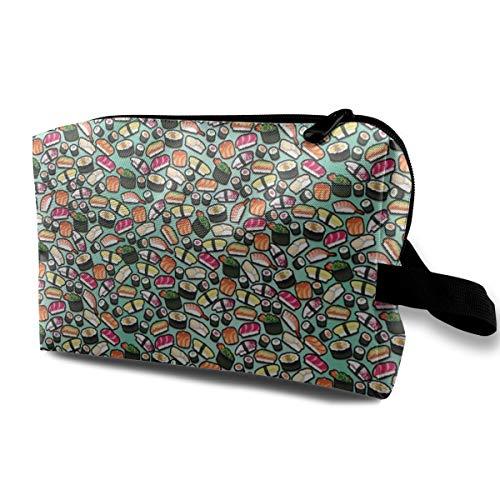 Makeup Bag Portable Travel Cosmetic Bag Aqua Sushi Mini Makeup Pouch for Women Girls -