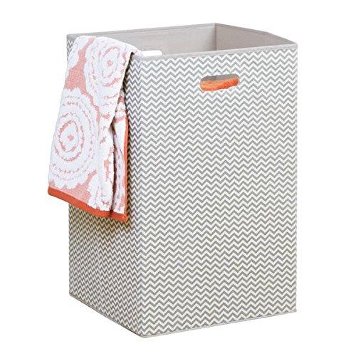 mDesign panier à linge gris clair – sac pour lessive pliable – trieur de linge en plastique parfait pour voyager - avec poignées intégrés