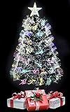 TruWare Weihnachtsbaum LED Glasfaser Farbwechsler inkl. Metallständer | Tannenbaum 45 bis 180cm (45 cm)