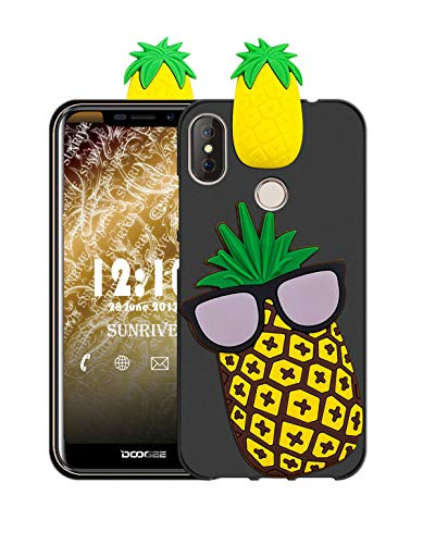 Sunrive Für DOOGEE X70 Hülle Silikon, Handyhülle matt Schutzhülle Etui 3D Case Backcover Tiere Muster Cover Handy Tasche Bumper(W1 Ananas)+Gratis Universal Eingabestift Tier Handy Cover