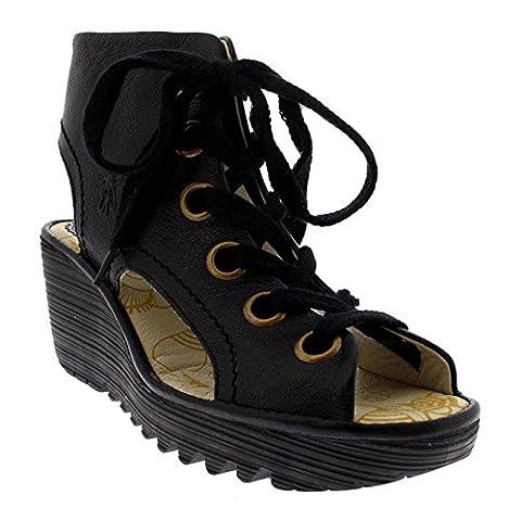 Womens Fly London Yaba Mousse Leather Open Toe Summer Wedge Heel Shoes - Black - 6
