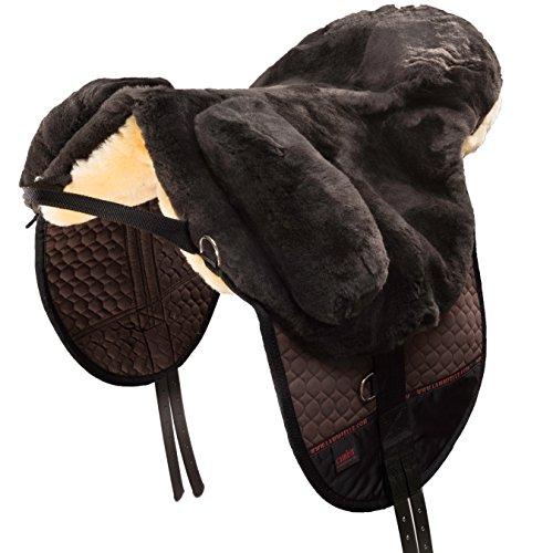 CHRIST Fellsattel Premium Plus hochwertiger, baumloser Lammfellsattel in Handarbeit gefertigt, Bare-Back-pad, Pferde-Sattel aus echtem Lammfell in braun, Gr. Warmblut
