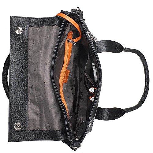 VOi Henkeltasche 21860 Leder Damen Kurzgrifftasche elegante Handtasche Schultertasche aus Leder in Blau cayenne