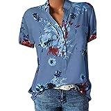 Große Größe Blusen Damen Elegante V-Ausschnitt Blumen Bluse Kurzarmshirt Sommer Casual Lose Tunika Top Hemd mit Knopfleiste Blusenshirt Tasche T-Shirt Oberteile(EUR-44/CN-3XL,Blau)