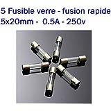 5x lot Fusible verre 5x20mm fusion Rapide 0.5A - 250v - 21fus024