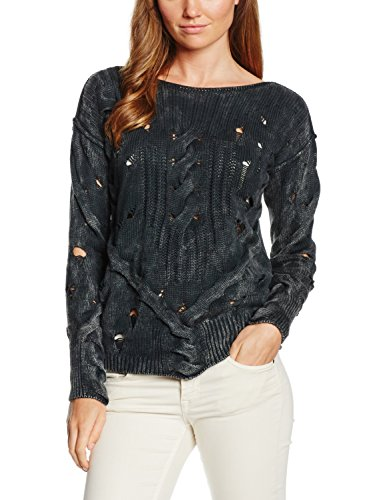 True Religion - KNIT CABLE SWEATER DESTROYED, Felpa Donna, Nero (JET BLACK 1001), 36 (Taglia Produttore: m)