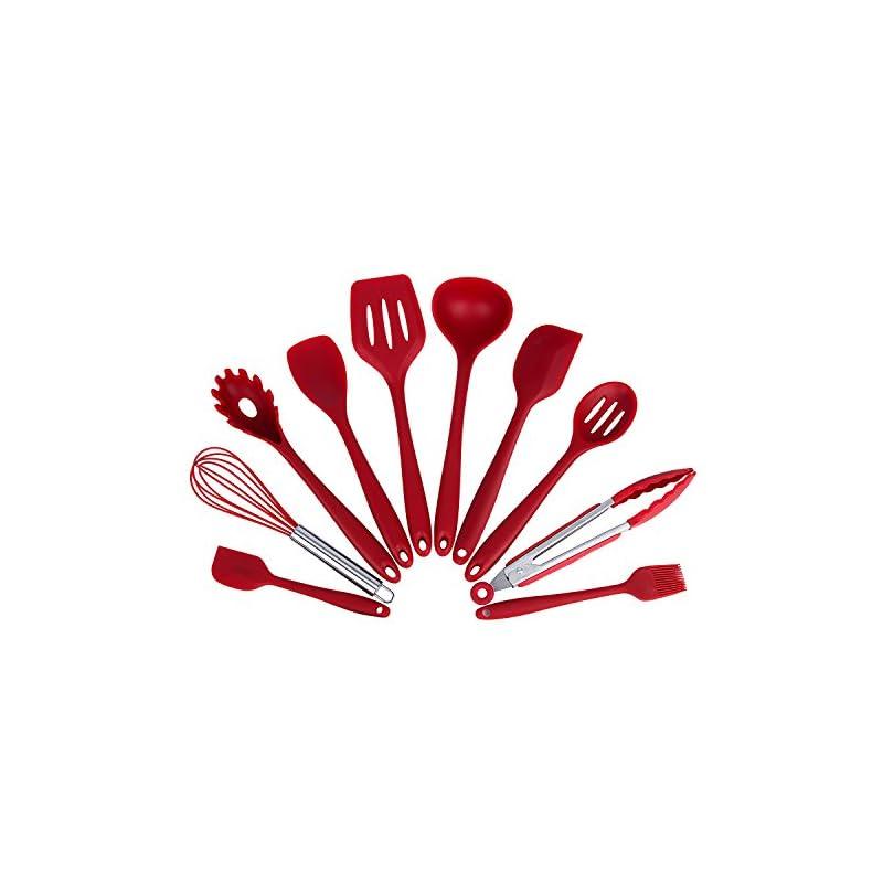 Hakkin 10 Stckset Silikon Kchenhelfer Kchenutensilien Kchenpinsel Schneebesen 2 Spatel Pasta Gabel Zange Schlitzlffel Lffel Spatel Werkzeuge Schlitz Turner