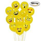 Nessus Emoji Balloons, 100Pcs Face Emoji Smiley, ballons à latex pour la fêtes d'anniversaire de fournitures pour fêtes d'anniversaire pour garçon et fille, Accessoires de décoration pour Évènements de mariage nouveautés, jaune