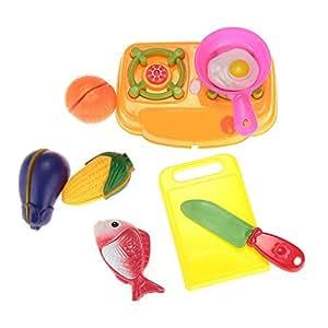 fittek mini cuisine cuisini re casserole l gume plastique jouet cadeau enfant d nette amazon. Black Bedroom Furniture Sets. Home Design Ideas