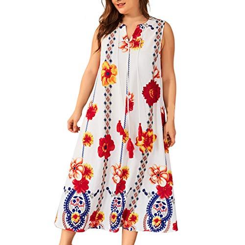 TIFIY Damen Großformat Kleid Plus Size Womens Bohe Floral Print ärmelloses Kleid mit V-Ausschnitt Ladies Sundress Lose Bequem Täglich Freizeit Kleiden(Weiß,XXXXL)