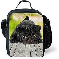 showudesigns–Impresión Animal Perro Carlino fiambrera bolsa para el almuerzo, poliéster, color 5, small