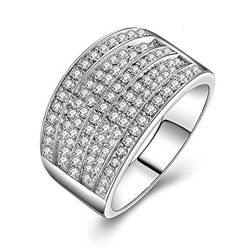 Epinki 925 Sterling Silver Men'S Ring Wedding Rings Engagement Rings 7 Series Cubic Zirconia Size X 1/2-Custom