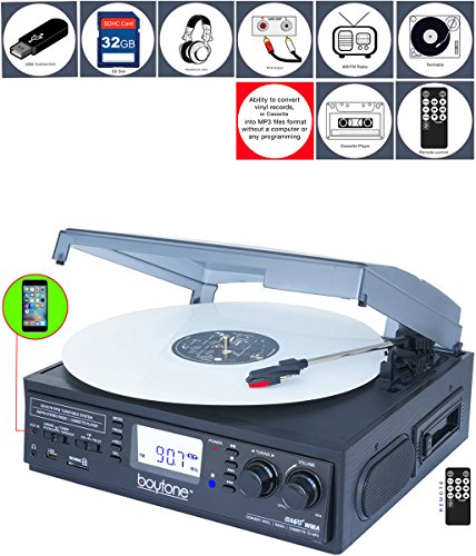 Boytone BT-19DJB-C 3-speed Stereo Turntable with 2 Built in Speakers Digital LCD Display AM/FM Radio + Supports USB/SD/AUX+ Cassette/MP3 & WMA Playback /Recorder & Headphone Jack + Remote Control