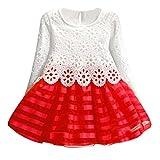 Vovotrade® Abito a Maniche Lunghe Ragazze Principessa Vestito Fiore della cavità (150, Rosso)