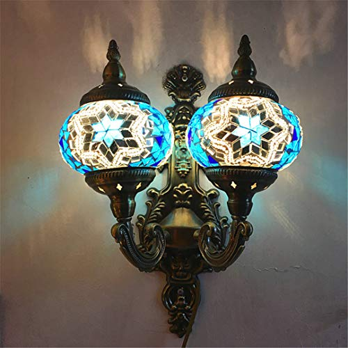 LH-LENORS Mediterranean Style Decoration Stained Glass Double Lights LED Retro Vintage Turkish Mosaic Wall Lamps E12 For Hotel Blue