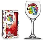 BICCHIERE 80 ANNI Calice vetro Gadget stampato idea regalo festa 80° Compleanno