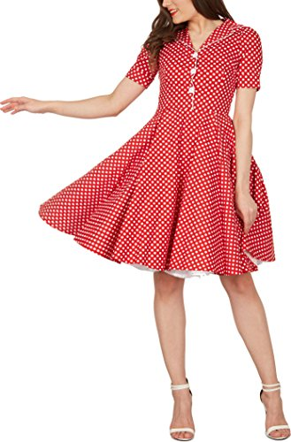 BlackButterfly 'Sabrina' Vintage Polka-Dots Kleid im 50er-J-Stil (Rot, EUR 44 - XL)