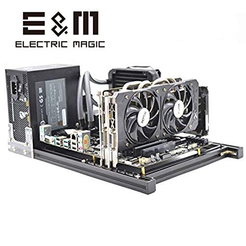 ITX MATX ATX PC Testbank Computer Open Frame Overclock Air Case Mini Aluminium HTPC PC Support Grafikkarte Schwarz ATX(005081)