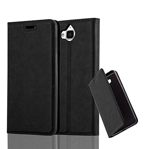 Preisvergleich Produktbild Cadorabo Hülle für Huawei Y6 2017 - Hülle in Nacht SCHWARZ – Handyhülle mit Magnetverschluss,  Standfunktion und Kartenfach - Case Cover Schutzhülle Etui Tasche Book Klapp Style