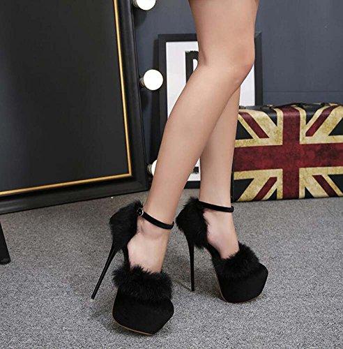 EU colore Strape spessore 34– donne scarpe puro tacco d pompa Charming peluche con 16cm Orsay caviglia stiletto 6cm festa vestito piattaforma scarpe taglia PqqOnwg1Y