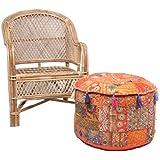 jth bohemio patchwork grande redondo decoración de suelo asiento Otomano Puf Taburete (tamaño: 22x 12x 22cm)