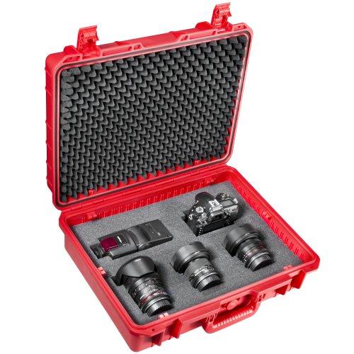 Mantona Outdoor Foto-Equipment Schutz-Koffer (Größe L, wasserdicht, stoßfest, staubdicht) rot