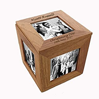 Personalised Oak Photo Cube perfect gift for all occasions, Weddings, Anniversaries, christenings etc.