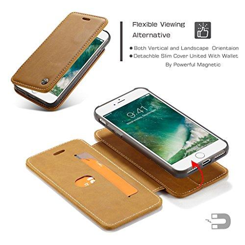 iPhone 6 Plus Schutzhülle - Abnehmbare Geldbörse Herausnehmbar 360°Drehende Magnetische Ring Haltewinkel Schutzhülle Flip Hülle mit Card Slot für iPhone 6 Plus - Gelb Gelb