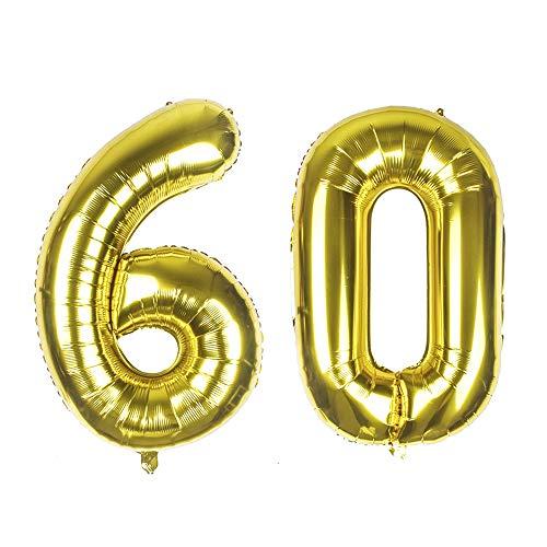 Globos gigantes de aluminio dorado con número 60, 40 pulgadas, globos de helio para decoración de 60 cumpleaños, suministros de helio flotante