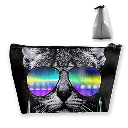 Dj Katze mit kopfhörer pet Tier trapez Aufbewahrungstasche schminktasche Tasche Tasche federmäppchen Mode Handtasche - Make-up Daisy Duck Tasche