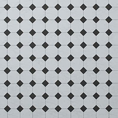 Dolls House Flooring Paper - Octagonal Tiles Marble Black produced by Dolls House Parade - quick delivery from UK.