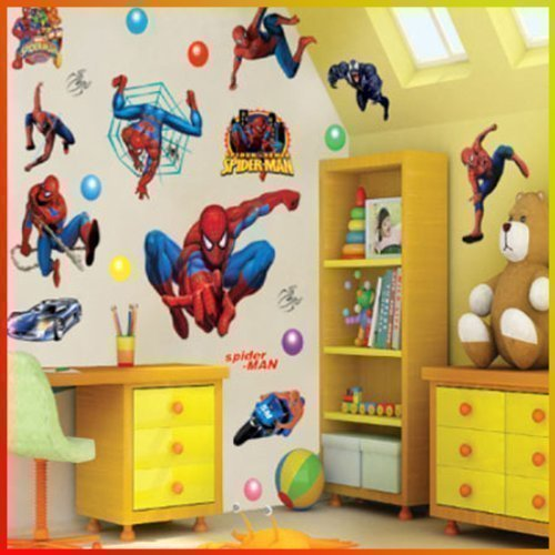 spiderman bedroom. Spiderman Wall Stickers With Decor Decal Art For Kids Nursery Bedroom