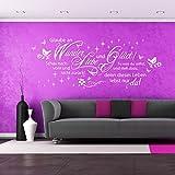 Wandtattoo Glaube an Liebe, Wunder und Glück | Spruch Zitat Wohnzimmer Deko Idee Schwarz 070 125 x 48 cm