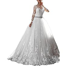 ANJURUISI Mujeres Vestidos de encaje de la boda Vestidos de novia de manga larga vestidos de