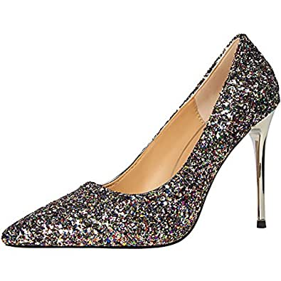 BIGTREE Sexy Glänzend Pailletten Hochzeit High Heel Schuhe von Damen Spitze Zehen Kleid Pumps Gold 42 EU sItvb
