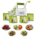 Twinzee Cortador de verduras en espiral, con 4cuchillas intercambiables, diseño innovador, para un almacenamiento óptimo, el mejor cortador para hacer espaguetis, fideo y cintas de frutas y verduras