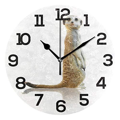 Aminka Niedliche lustige stehende Erdmännchen Runde Wanduhr Nicht tickend leise Acryl Uhren für Wohnzimmer, Schlafzimmer, Küche, Schule, Büro